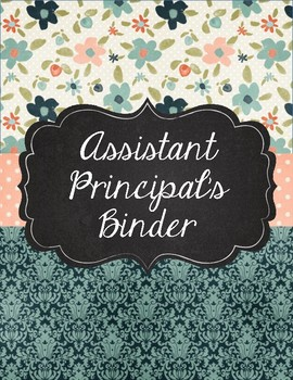 Dark Teal Damask Principal or Assistant Principal's Binder