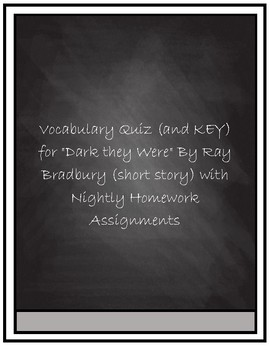 Dark They Were, and Golden Eyed Vocab Quiz and Key