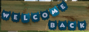 Dark Turquoise and White Welcome Back Owl Banner