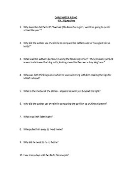Dark Water Rising Short Answer Chap. Questions