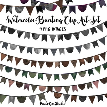Dark Watercolor Bunting Clip Art