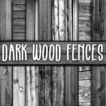 Dark Wood Fences Digital Paper - 16 Different Papers - 12inx12in