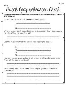 Darnell Rock Reporting (5th Grade - Supplemental Materials)