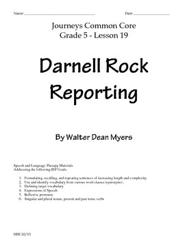 Journeys Common Core 5th- Darnell Rock Reporting Supplemental Packet for the SLP