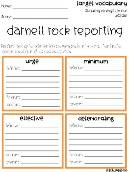 Darnell Rock Reporting Vocabulary Grids