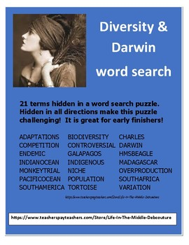 Darwin Diversity Word search 21 hidden terms