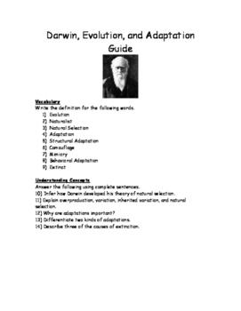 Darwin, Evolution, and Adaptation Guide