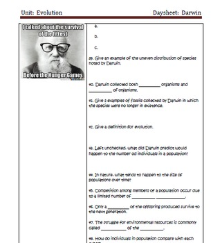 Darwin Notes and Activities