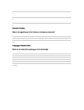 Darwin & The Voyage of the Student Notes Sheet