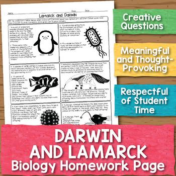 Darwin and Lamarck Biology Homework Worksheet