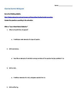 Darwin natural selection activity virtual lab worksheet