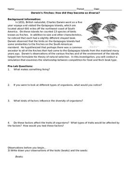 Darwin's Finches Inquiry Lab