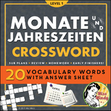 Das Jahr - Monate und Jahreszeiten - German Months and Seasons Crossword Puzzle
