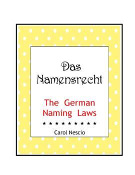 Das * Namensrecht   The German Naming Laws