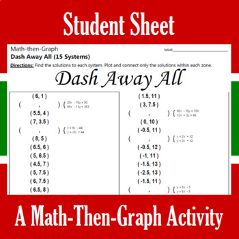 Dash Away All - A Math-Then-Graph Activity - 15 Systems