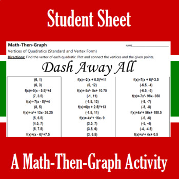 Dash Away All- A Math-Then-Graph Activity - Finding Vertices