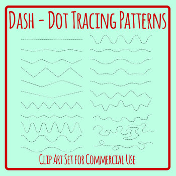 Dash Dot Pattern Tracing Lines Clip Art Set for Commercial Use