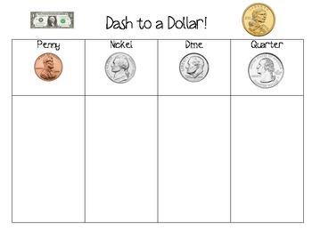 Dash to A Dollar!  Math Coin Counting Game  FREEBIE!