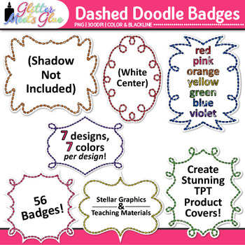 Dashed Frame Clip Art {Rainbow Glitter Labels for Classroo
