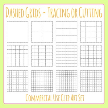 Dashed Grids for Cutting or Tracing Fine Motor Control Clip Art Commercial Use