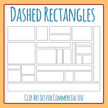 Dashed Rectangles for Tracing or Cutting Various Clip Art for Commercial Use
