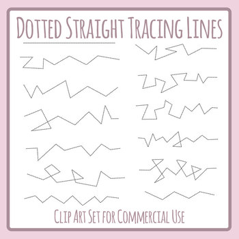 Dashed or Dotted Tracing Lines with Straight Lines and Hard Corners Clip Art Set