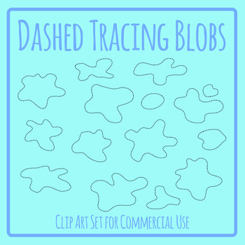 Dashed or Dotted Tracing Shapes - Blobs or Splatters Clip Art Set
