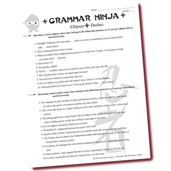 Dashes & Ellipses PowerPoint Notes & Exercises - Grammar Ninja