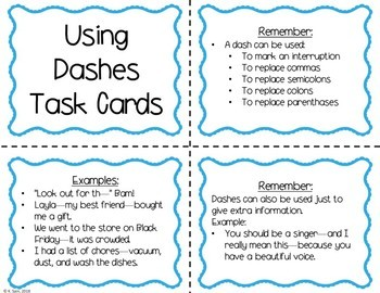 Dashes Task Cards