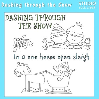 Dashing Through The Snow Jingle Bells Line Art  C. Seslar