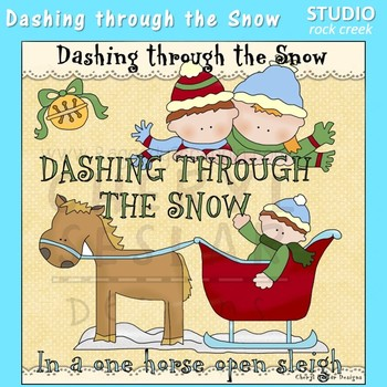 Dashing Through The Snow Jingle Bells Clip Art  C. Seslar