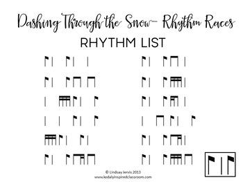 Dashing Through the Snow Rhythm Races: syncopa