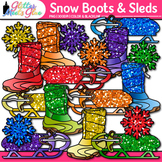 Rainbow Snow Boots & Sleds Clip Art | Glitter Graphics for Winter Activities