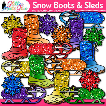Rainbow Snow Boots & Sleds Clip Art {Glitter Graphics for
