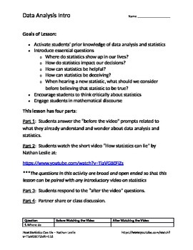 Data Analysis Intro - Pre Assessment, Prior Knowledge, Essential Questions
