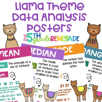 Data Analysis Math Posters mean, median, mode, range with a Llama Theme