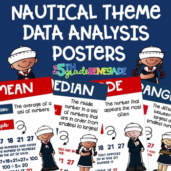 Data Analysis Math Posters mean, median, mode, range with a Nautical Theme