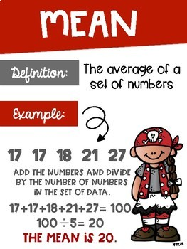 Data Analysis Math Posters mean, median, mode, range with a Pirate Theme
