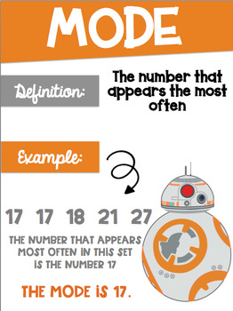 Data Analysis Math Posters mean, median, mode, range with a Star Wars Theme