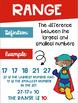 Data Analysis Math Posters mean, median, mode, range with a Superhero Theme