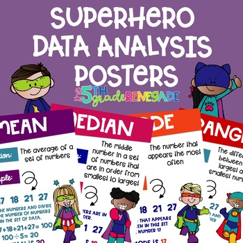 Data Analysis Math Posters mean, median, mode, range with a Superhero Theme