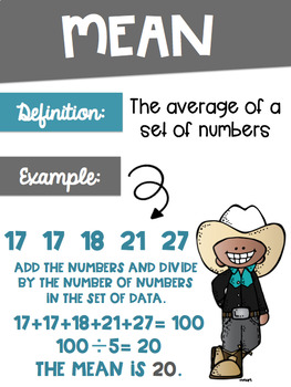 Data Analysis Math Posters mean, median, mode, range with a Western Theme
