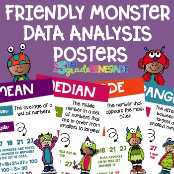 Data Analysis Posters mean, median, mode, range with a Friendly Monster Theme