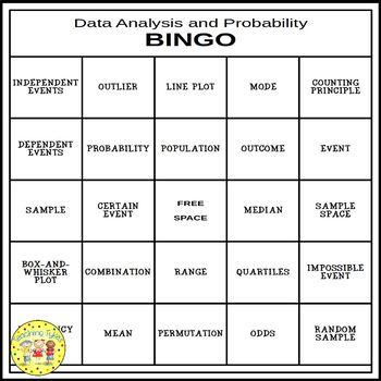 Data Analysis Pre-Algebra BINGO