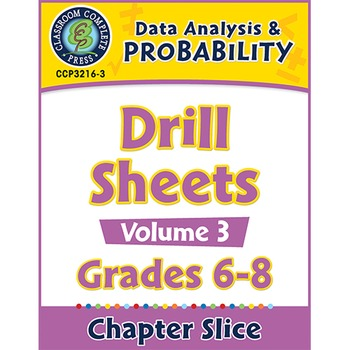 Data Analysis & Probability - Drill Sheets Vol. 3 Gr. 6-8