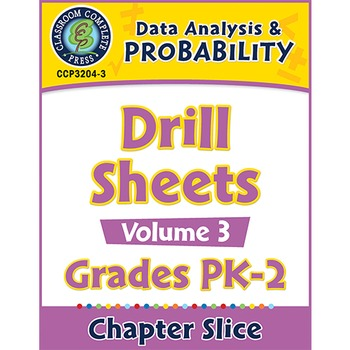Data Analysis & Probability - Drill Sheets Vol. 3 Gr. PK-2