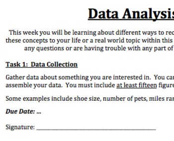 Data Analysis Project & Rubric (Ideal for Middle School)