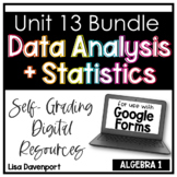 Data Analysis & Statistics in Algebra 1 Bundle- for use with Google Forms