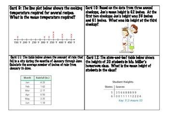 Data & Statistics Task Cards  Middle School Math 6th & 7th grade