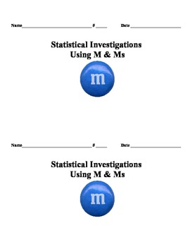Data Analysis and Graphing w/ M&Ms:  Line Plots, Median, Mode & Range Booklet
